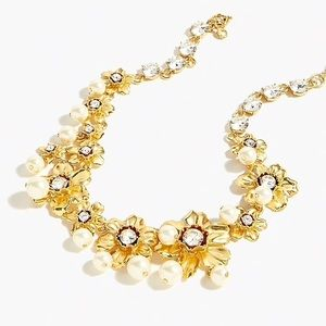 J Crew Pearl and crystal floral statement necklace